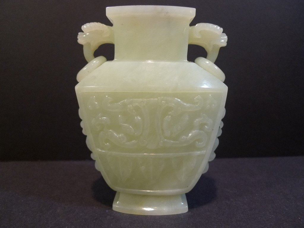 CHINESE CARVED CELADON JADE VASE