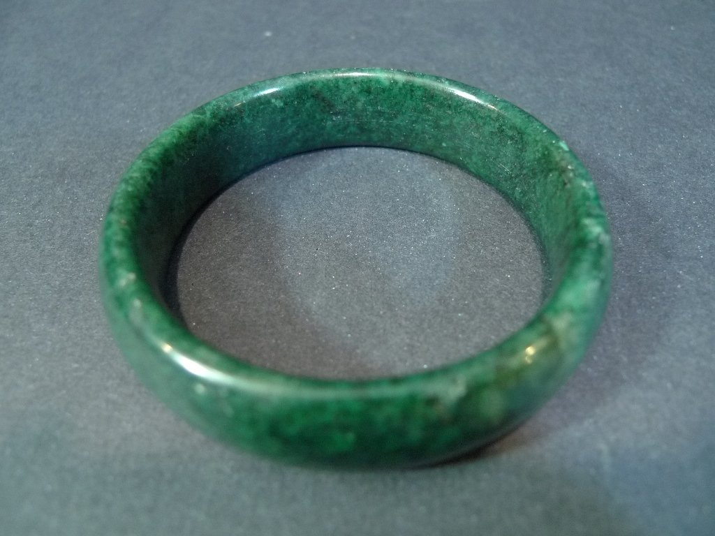 CHINESE DARK GREEN JADEITE BANGLE BRACELET