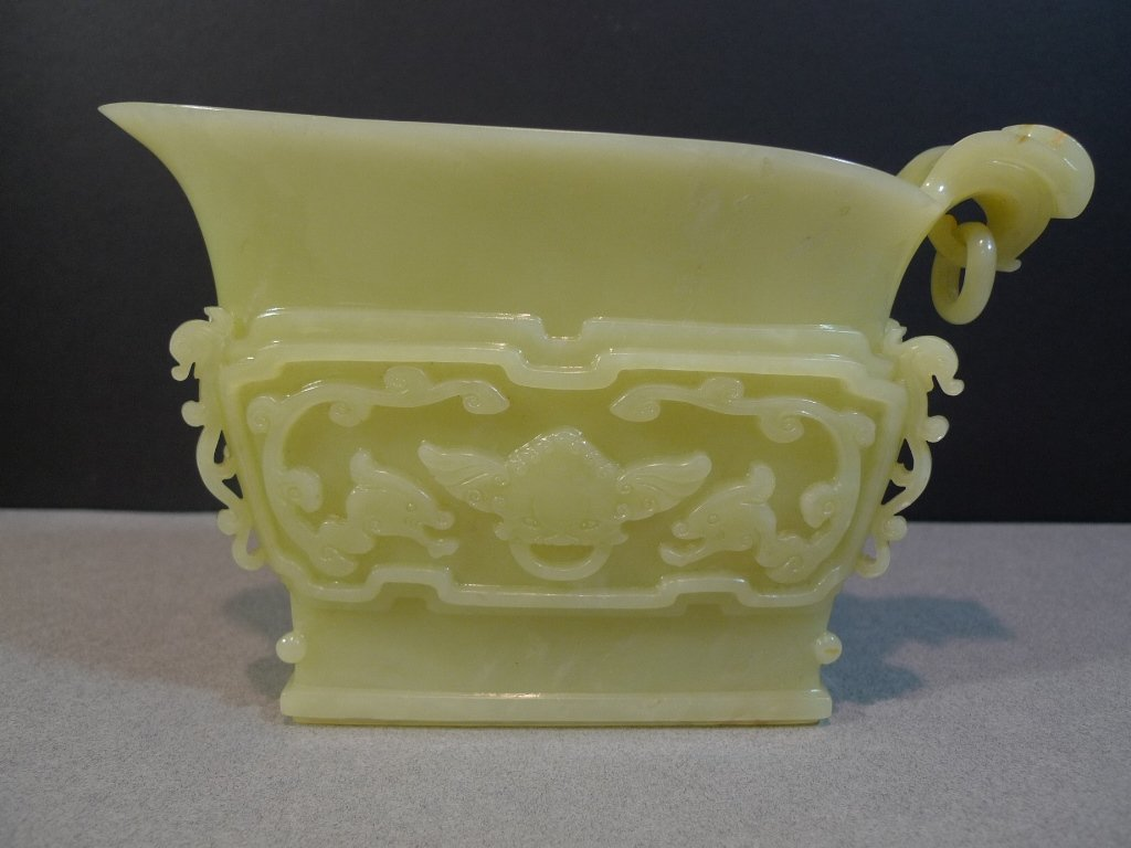 ANTIQUE CHINESE CELADON JADE CARVED LIBATION CUP OR YI