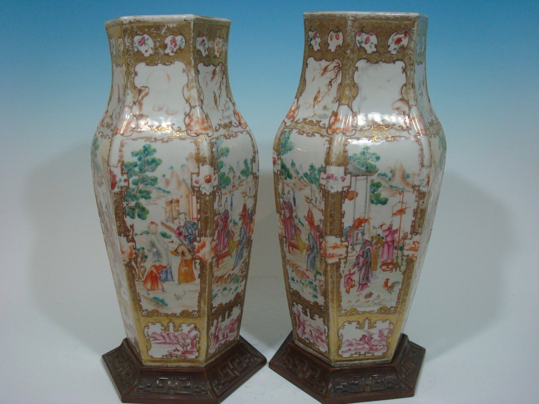 Antique Chinese Famille Rose Huge Vases, 18th C, 17