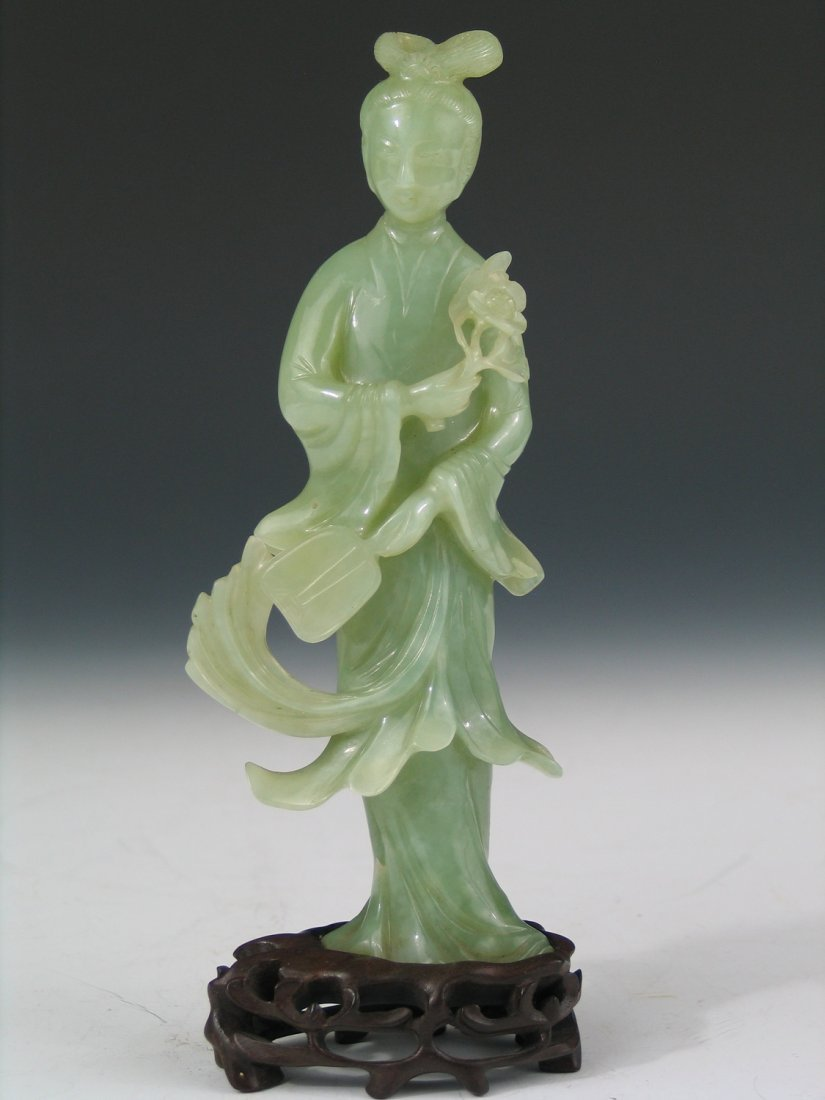 Chinese Carved Green Jade Meiren, Qing Dynasty