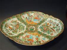 Antique Chinese Rose Medallion Duck Dish Platter 19th