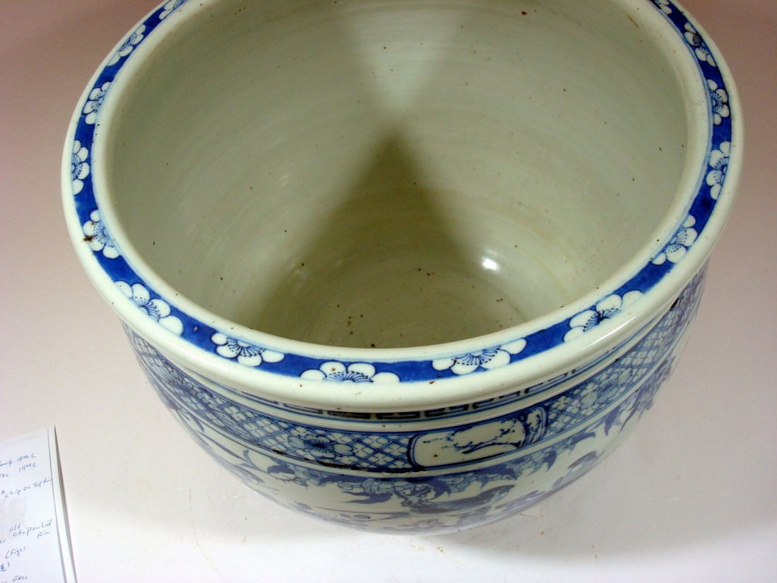 Antique Chinese Blue and White Jardiniere Fish Bowl, - 2