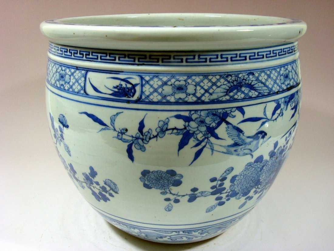 Antique Chinese Blue and White Jardiniere Fish Bowl, - 3