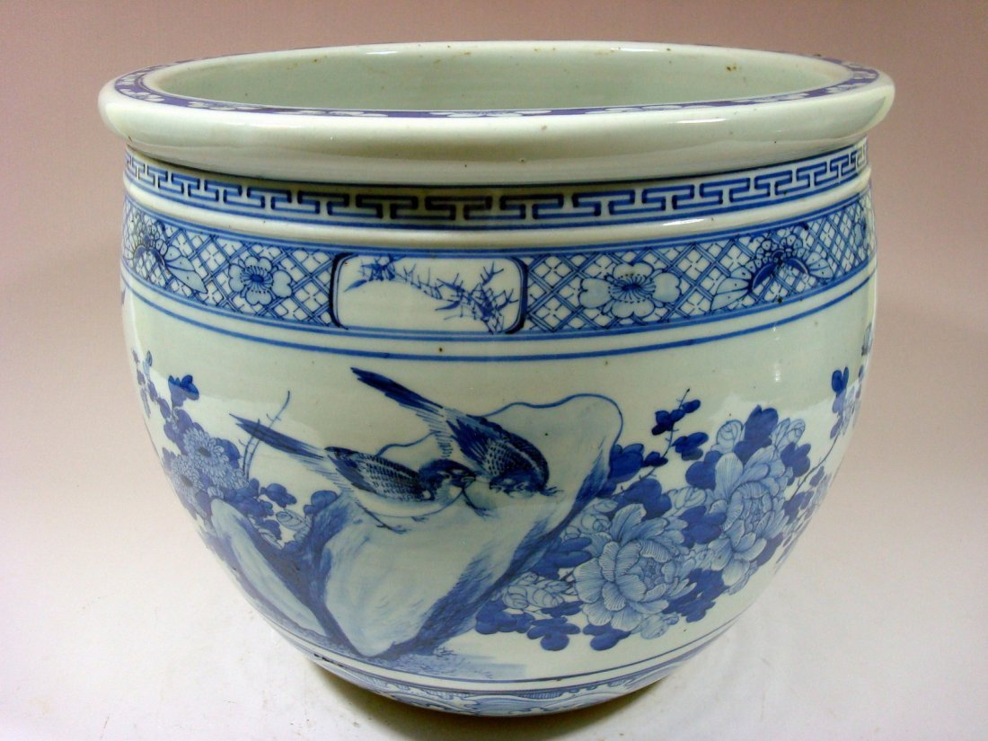 Antique Chinese Blue and White Jardiniere Fish Bowl, - 4