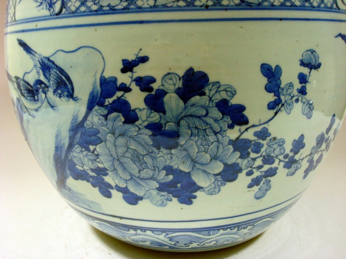 Antique Chinese Blue and White Jardiniere Fish Bowl, - 5