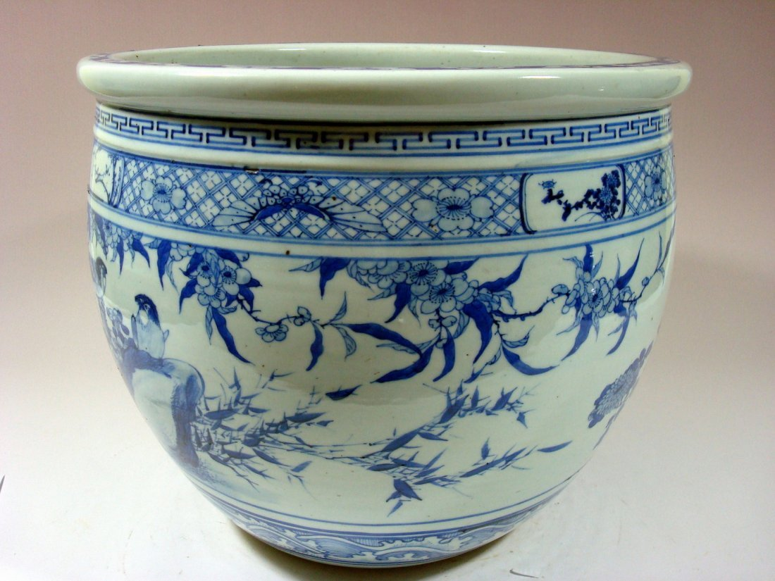 Antique Chinese Blue and White Jardiniere Fish Bowl, - 6
