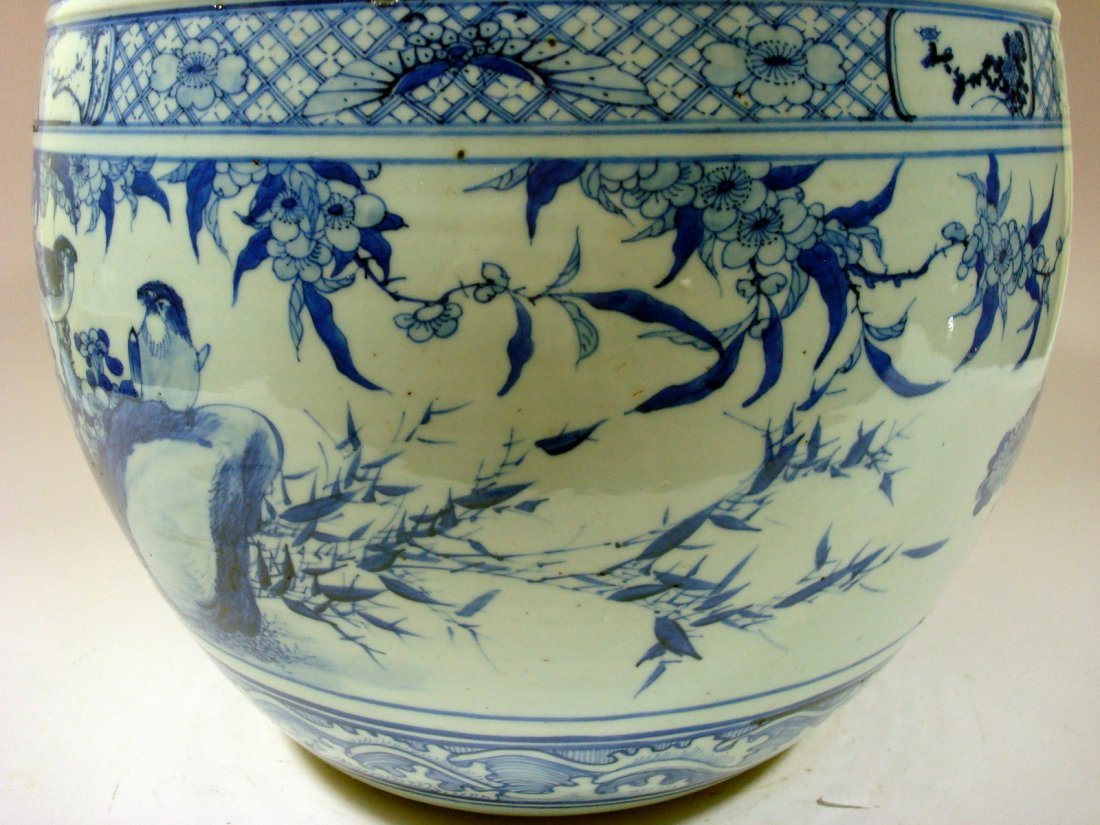 Antique Chinese Blue and White Jardiniere Fish Bowl, - 7
