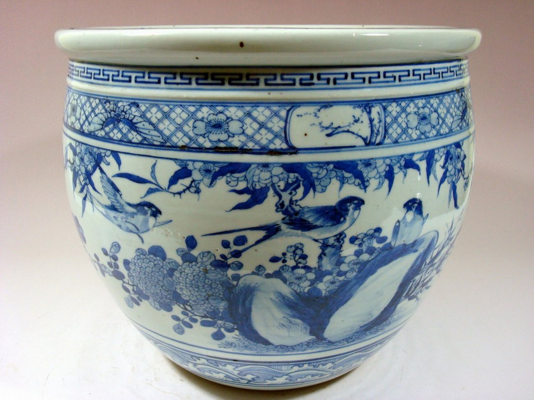 Antique Chinese Blue and White Jardiniere Fish Bowl, - 8