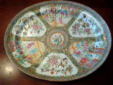 Antique Chinese Rose Medallion Platter early 19th C