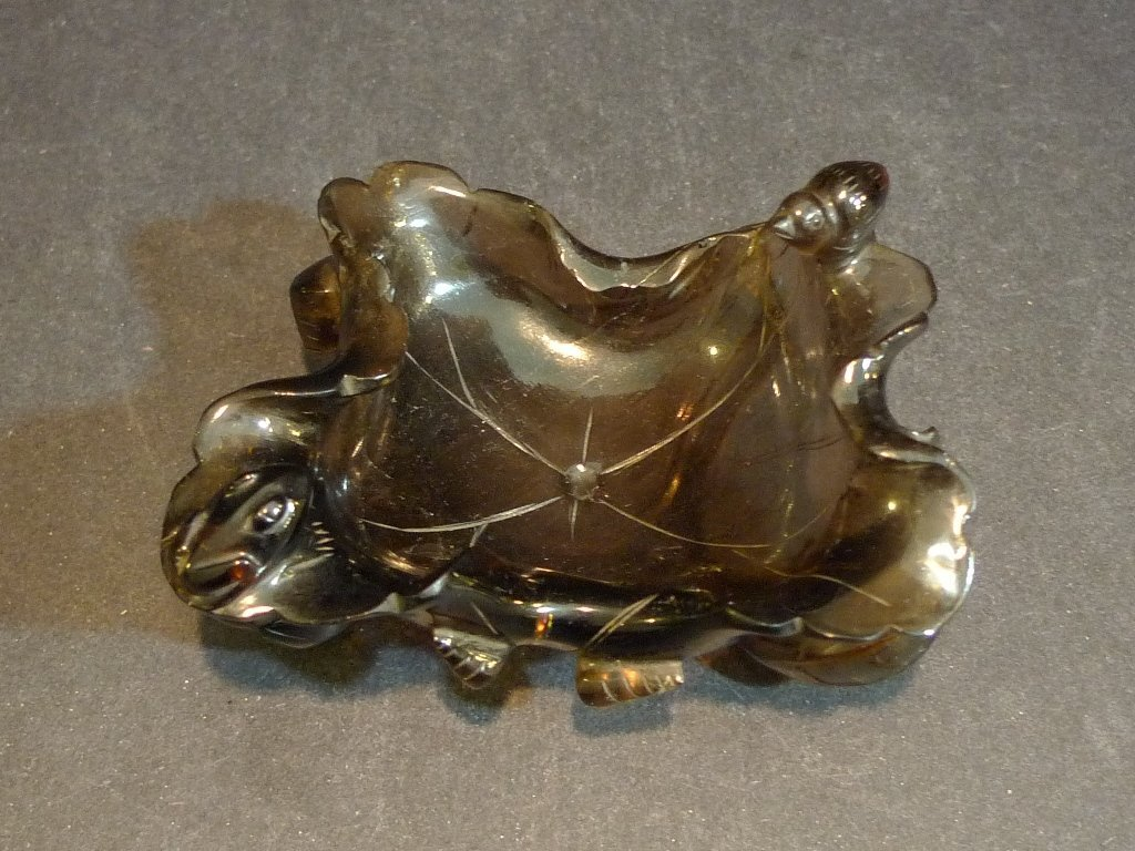 ANTIQUE CHINESE SMOKY QUARTZ CARVED WATER COUPE 18TH