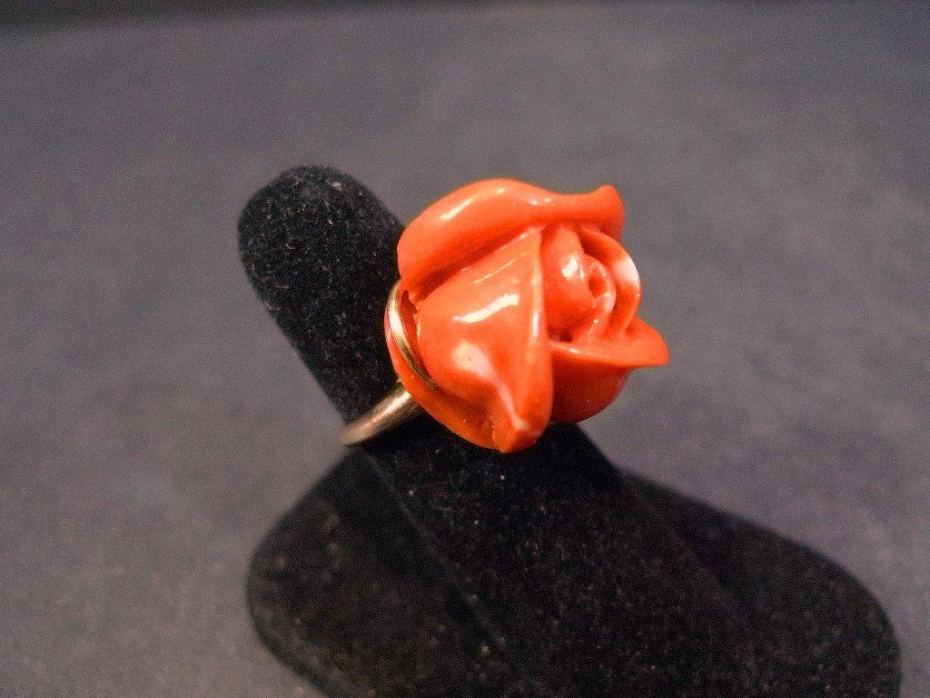14K SOLID GOLD NATURAL RED CORAL CARVED ROSE RING