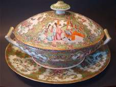 ANTIQUE Chinese Rose Medallion Tureen and Tray Platter