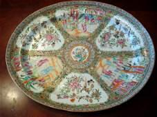 ANTIQUE Chinese Rose Medallion Platter 18 12 long