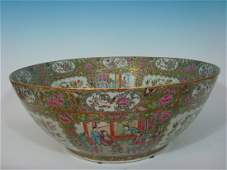ANTIQUE Large Chinese Rose Medallion Punch Bowl 23