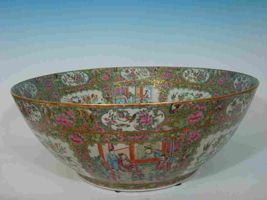 ANTIQUE Large Chinese Rose Medallion Punch Bowl, 23""