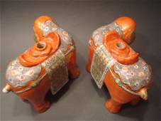 ANTIQUE Large Rare Chinese Pair Famille Rose Elephants,