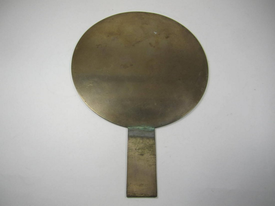 EARLY JAPANESE BRASS MIRROR WITH HANDLE, MARKED - 3