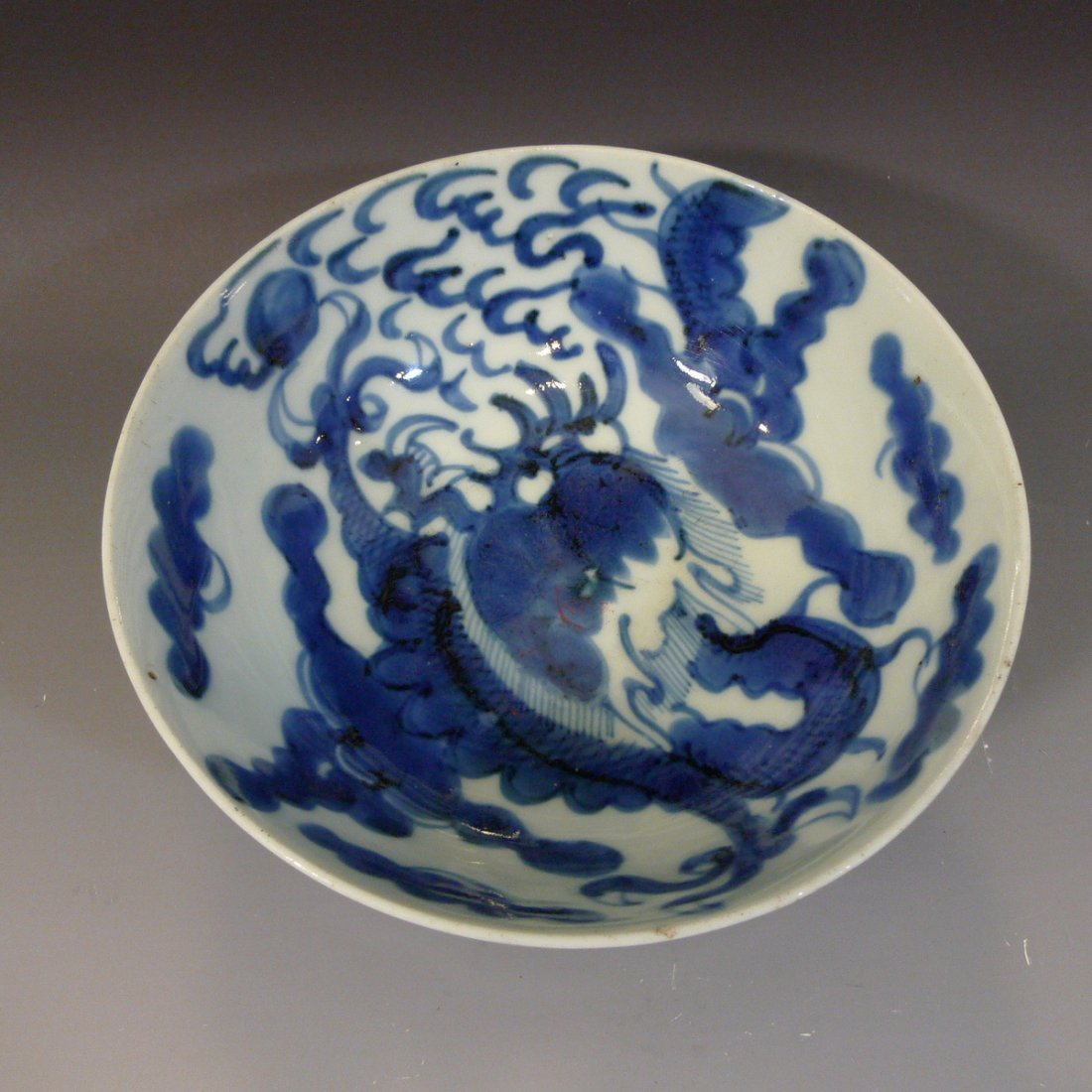 ANTIQUE CHINESE BLUE WHITE DRAGON BOWL 18TH C UNUSUAL