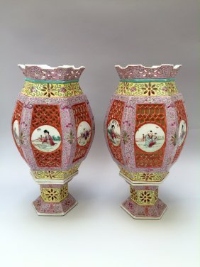 A Pair Of Chinese Antique Famille Rose Lamps 19th
