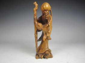 Chinese Boxwood Carved Shou Lao Figure