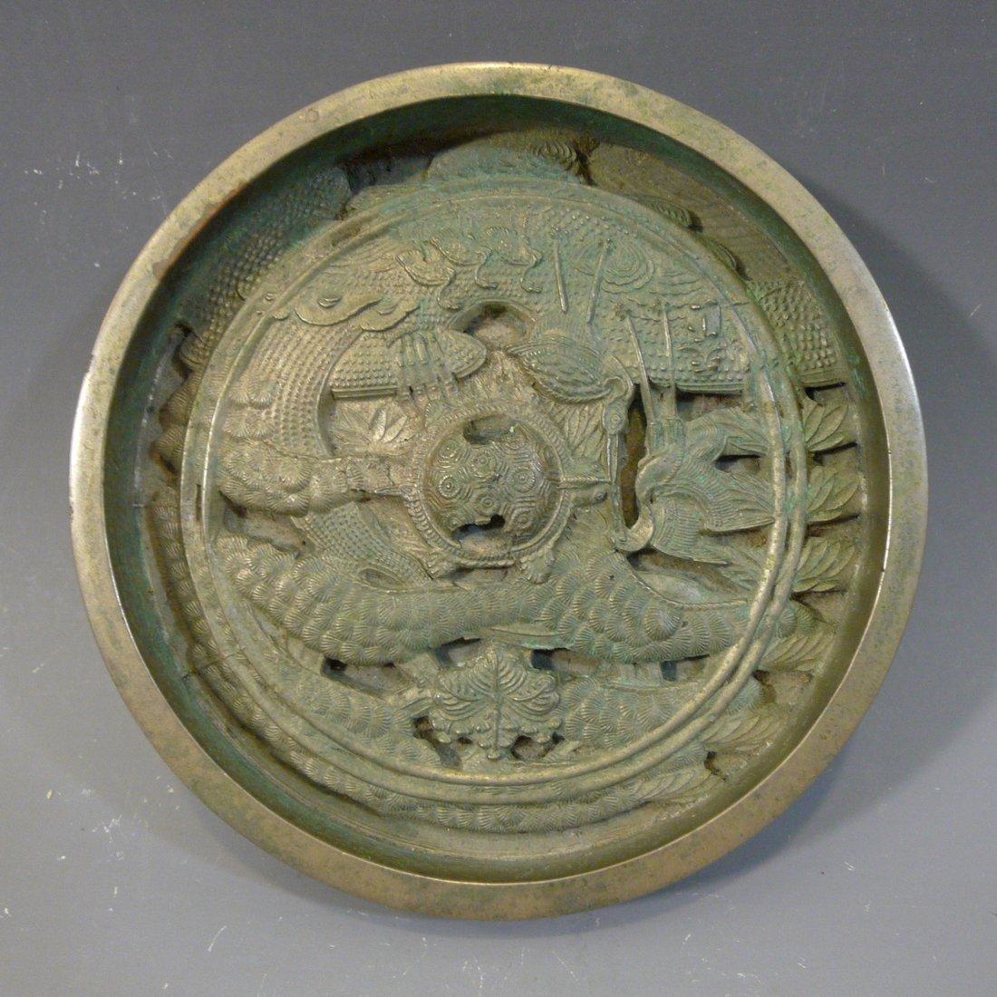 ANTIQUE JAPANESE BRONZE MIRROR - 18TH CENTURY