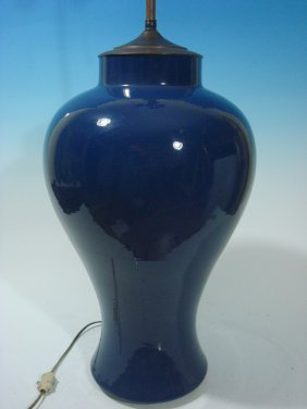 Antique Chinese Monochrome Blue Meiping Vase As Lamp,