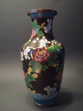 "Antique Chinese Cloisonne Vase, Late Qing. 11"" H"