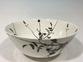 """Vintage English Art Punch Bowl, 13"""" Diameter, Signed By"""