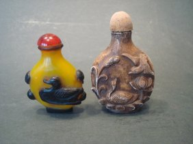"Antique Chinese Snuff Bottles, 19th C. 3"" High"