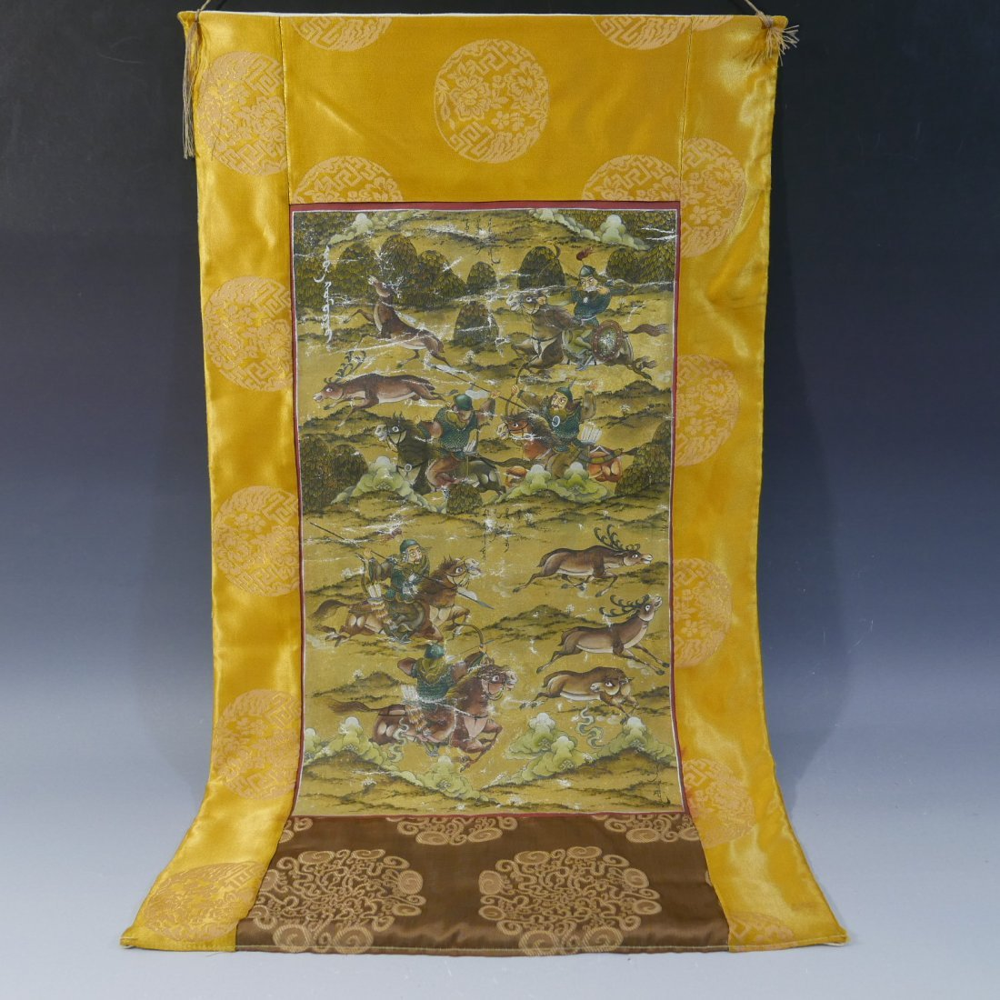ANTIQUE CHINESE MANCHURIAN HUNTING SCENE PAINTING -