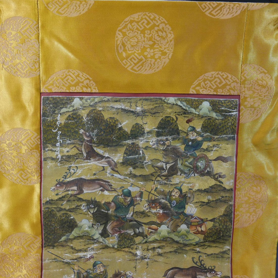 ANTIQUE CHINESE MANCHURIAN HUNTING SCENE PAINTING - - 2