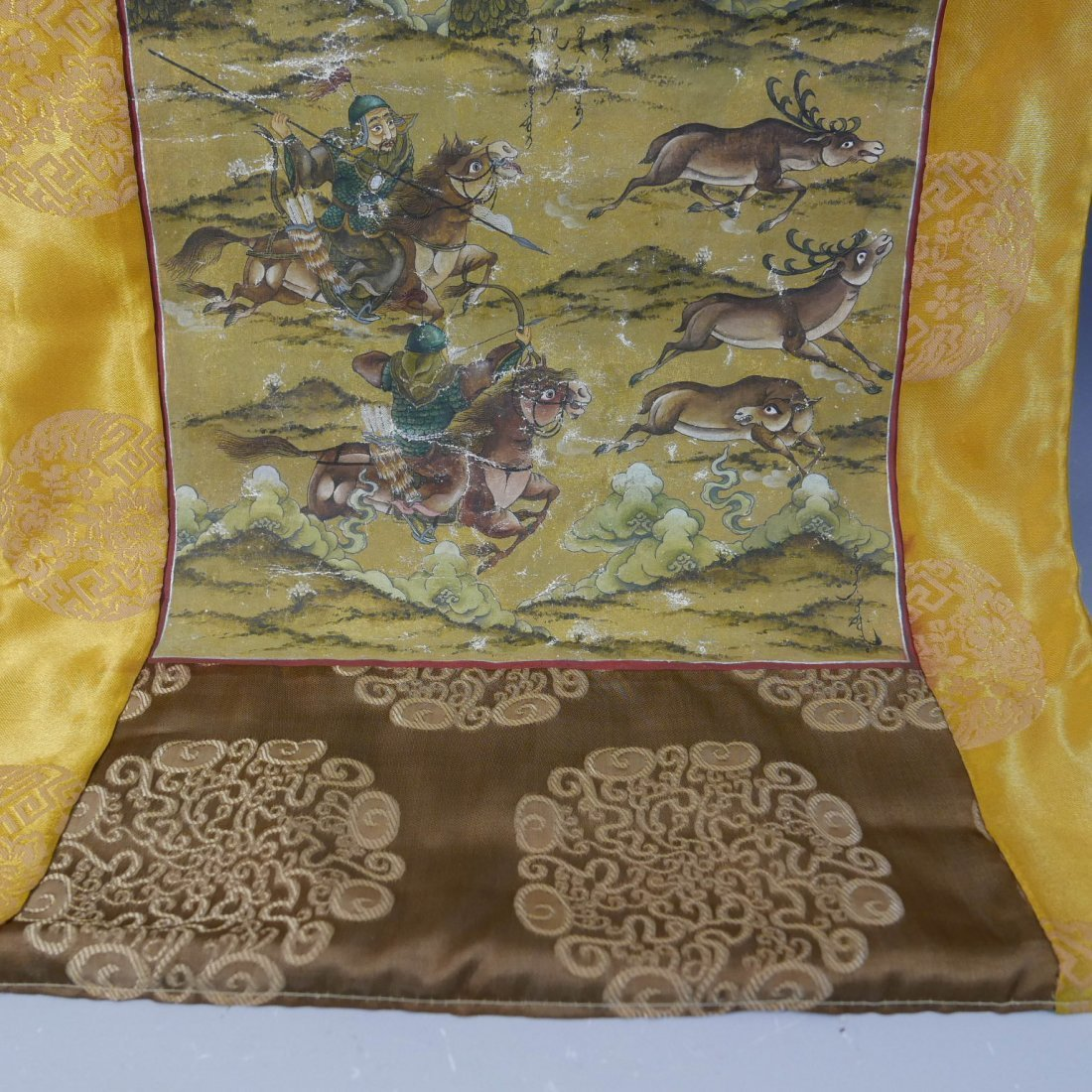 ANTIQUE CHINESE MANCHURIAN HUNTING SCENE PAINTING - - 3
