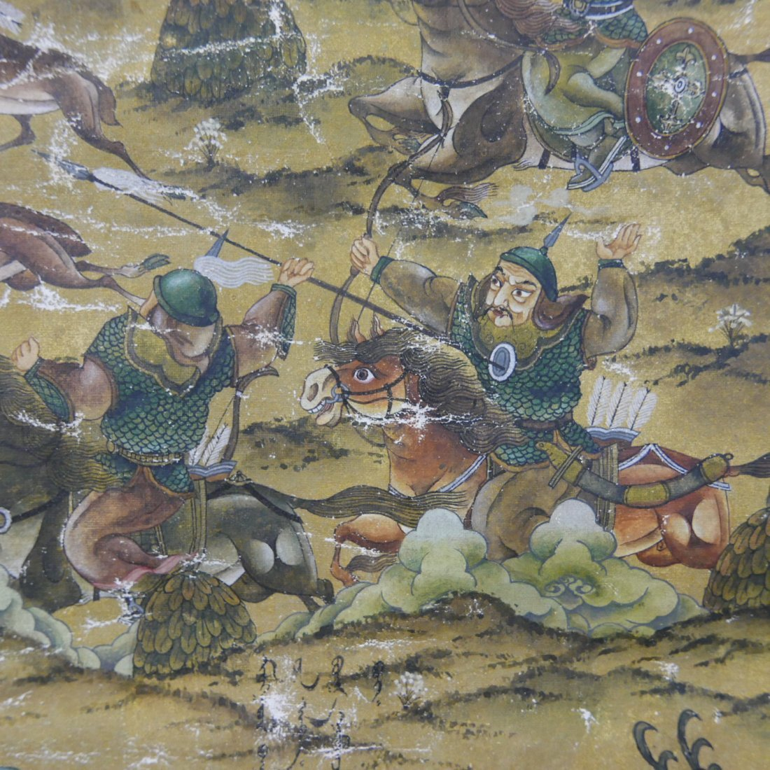 ANTIQUE CHINESE MANCHURIAN HUNTING SCENE PAINTING - - 4