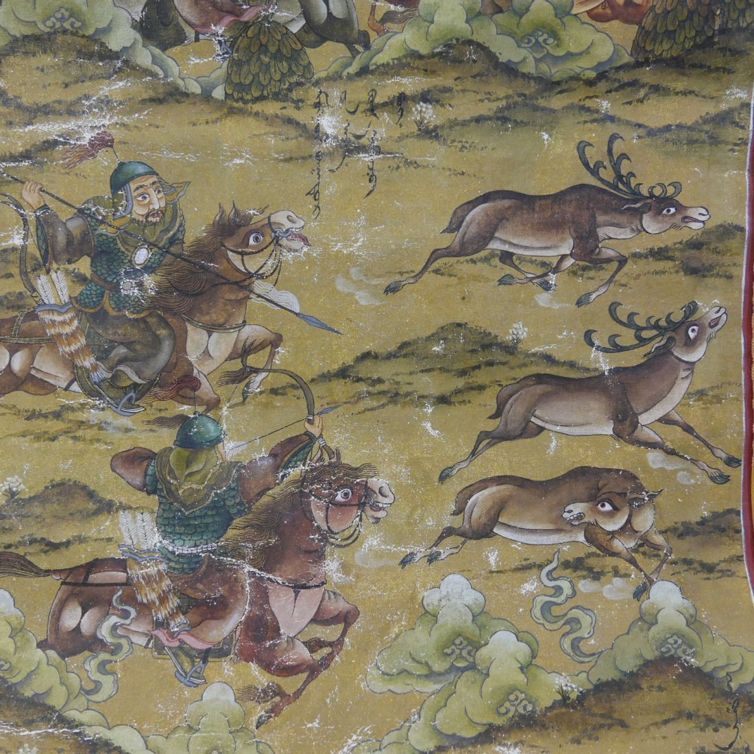 ANTIQUE CHINESE MANCHURIAN HUNTING SCENE PAINTING - - 5