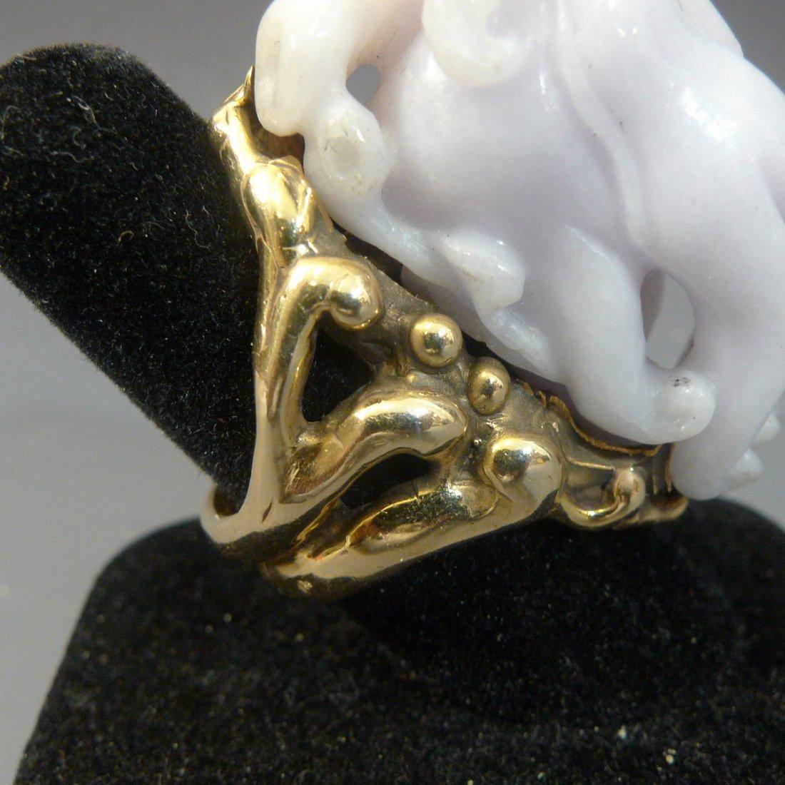 IMPRESSIVE LAVENDER JADEITE RING 14K GOLD JOHN HARDY - 4