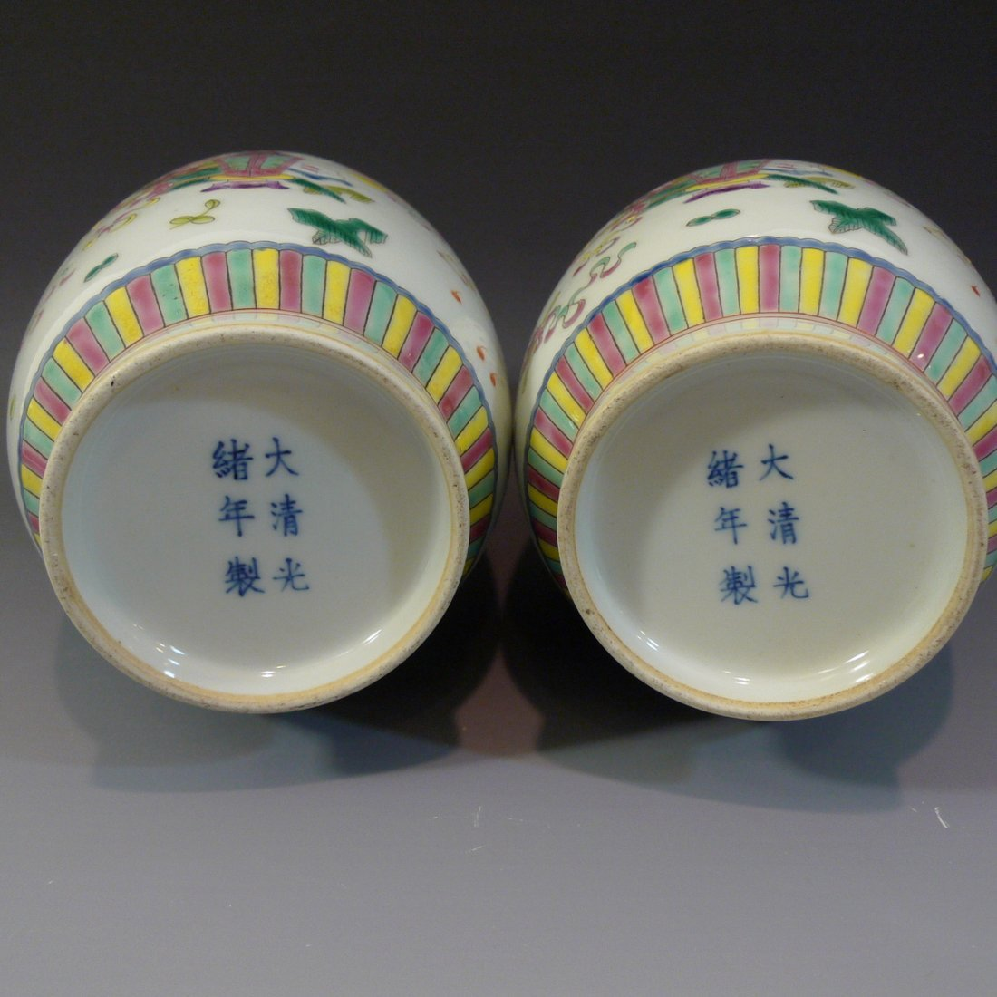 PAIR ANTIQUE CHINESE FAMILLE ROSE PORCELAIN VASE - 5