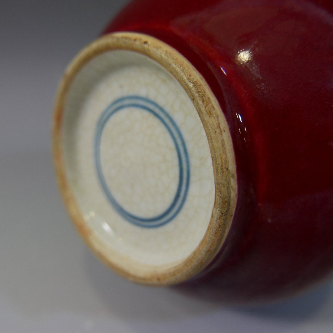 ANTIQUE CHINESE RED GLAZE DOUBLE GOURD PORCELAIN VASE - - 6