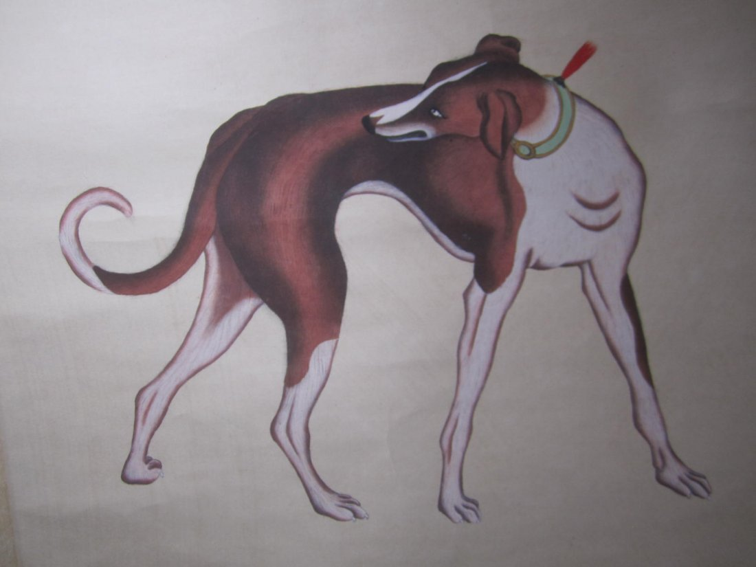 CHINESE WATERCOLOR SCROLL DEPEICTING DOG, SIGNED AND - 9
