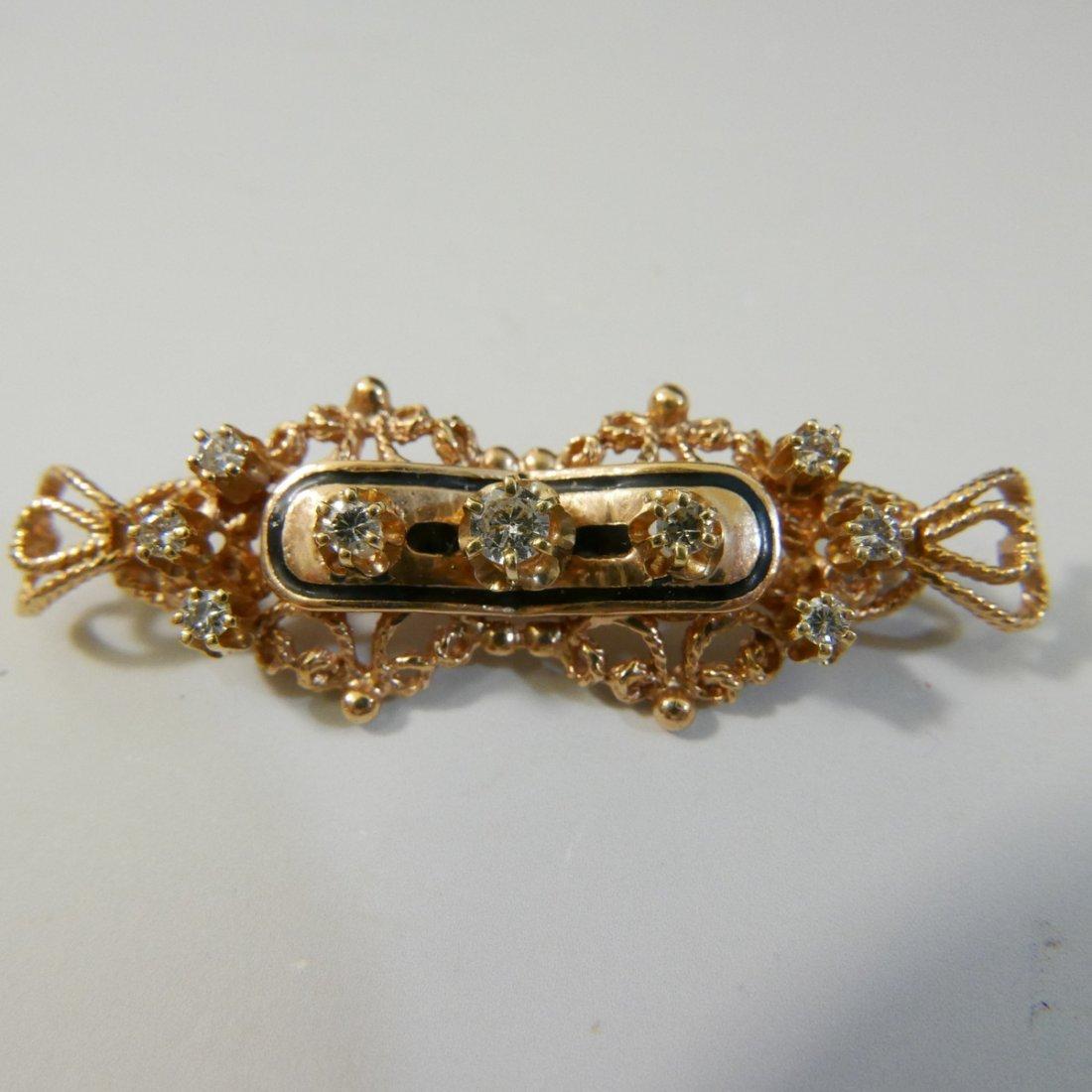 14K GOLD DIAMOND PIN BROOCH - 7.5 GRAMS