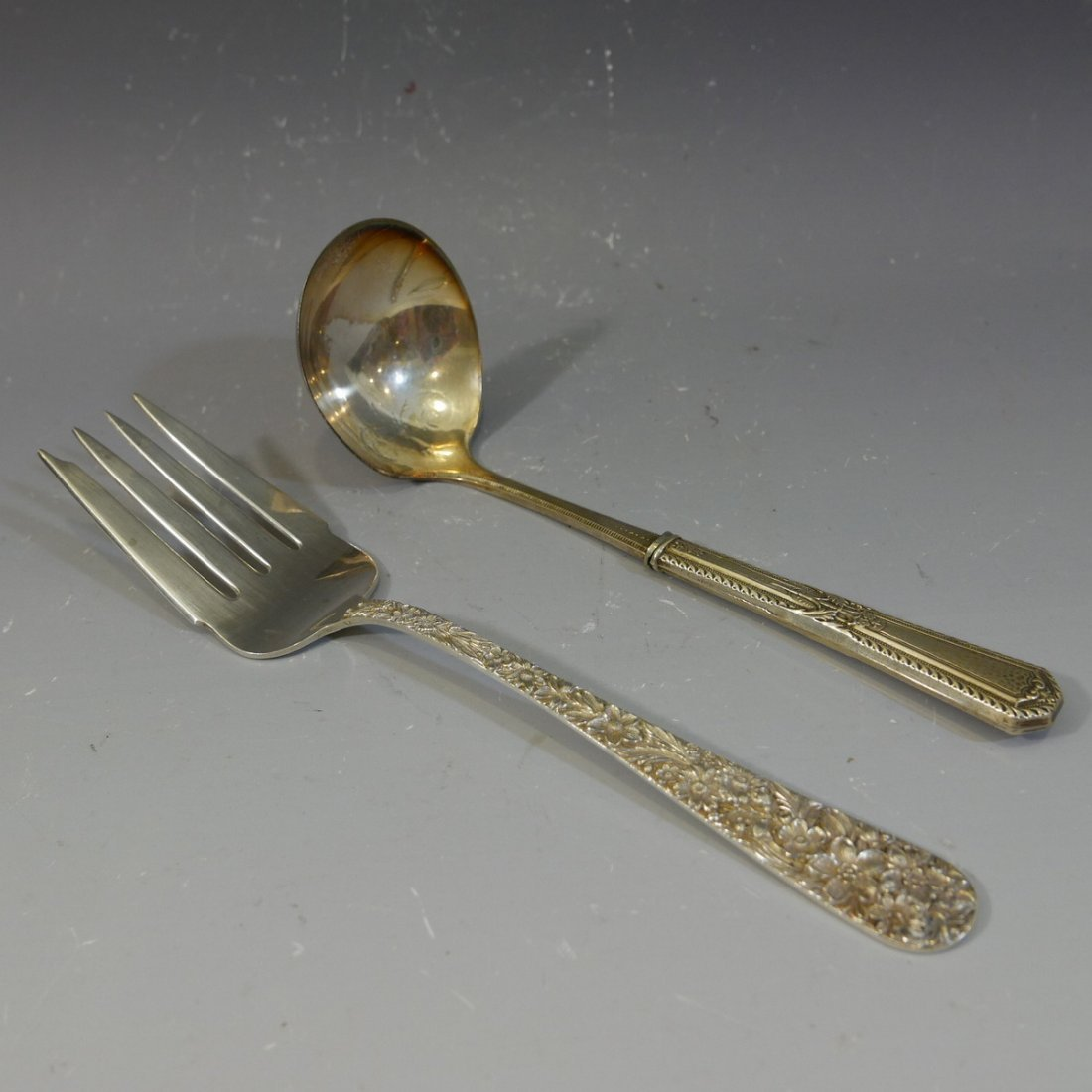 S KIRK STERLING SILVER LADLE WITH A SERVING FORK 140