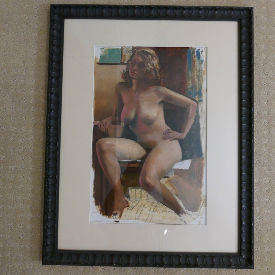 NUDE WATERCOLOR PAINTING, FRAMED