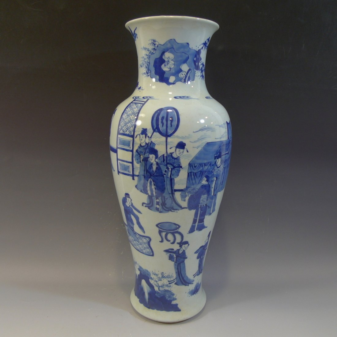 ANTIQUE CHINESE BLUE WHITE PORCELAIN VASE - KANGXI MARK