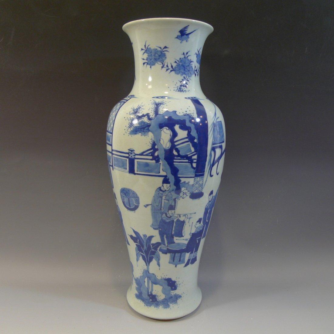 ANTIQUE CHINESE BLUE WHITE PORCELAIN VASE - KANGXI MARK - 2