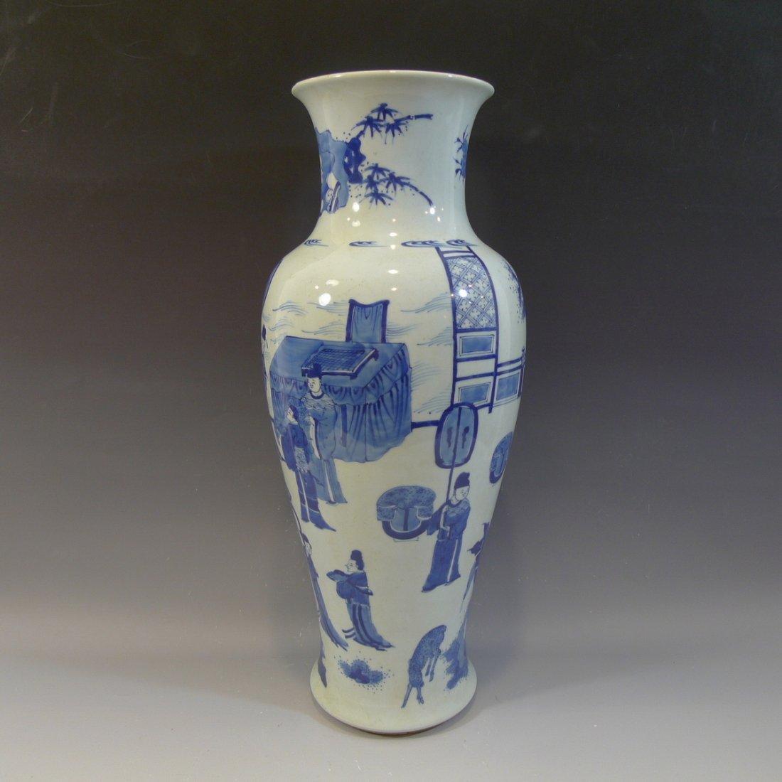 ANTIQUE CHINESE BLUE WHITE PORCELAIN VASE - KANGXI MARK - 3