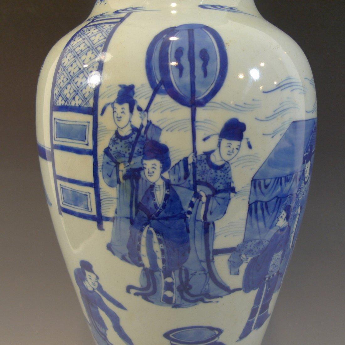 ANTIQUE CHINESE BLUE WHITE PORCELAIN VASE - KANGXI MARK - 4