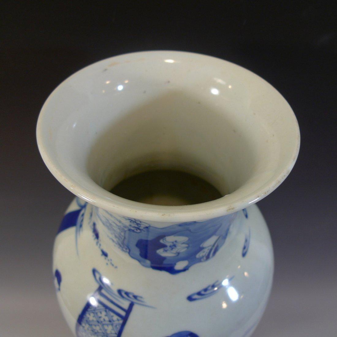 ANTIQUE CHINESE BLUE WHITE PORCELAIN VASE - KANGXI MARK - 5
