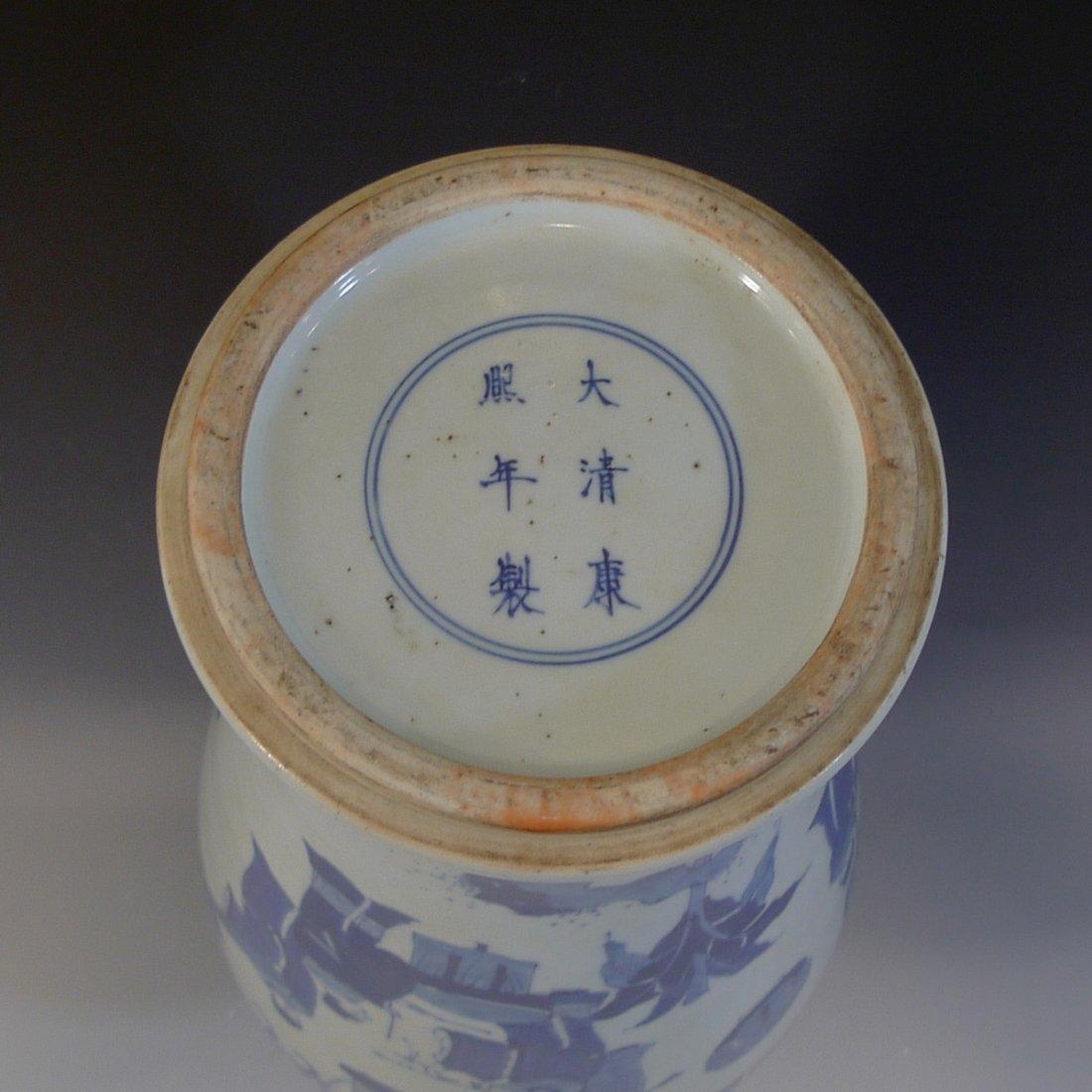 ANTIQUE CHINESE BLUE WHITE PORCELAIN VASE - KANGXI MARK - 7