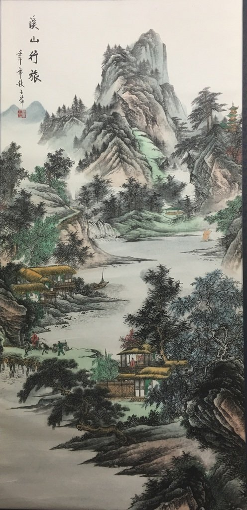 ANTIQUE Chinese Water color scroll painting with
