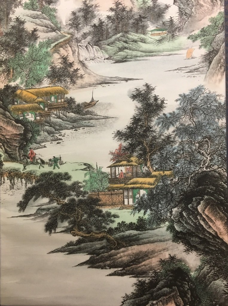 ANTIQUE Chinese Water color scroll painting with - 2